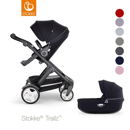 Stokke Stokke Trailz Black Chassis w/classic wheels/black Leatherette handle Black/Black