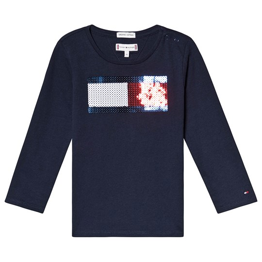 Tommy Hilfiger Navy Flag Sequin Long Sleeve Tee 002