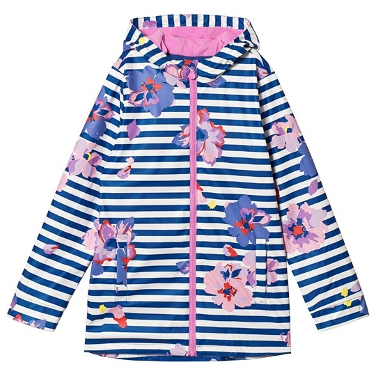 Tom Joule Blue Raindance Floral Rubber Coat Mid Blue floral