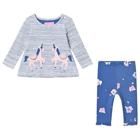 Tom Joule Unicorn Applique Top and Legging Set Blue Stripe Unicorn