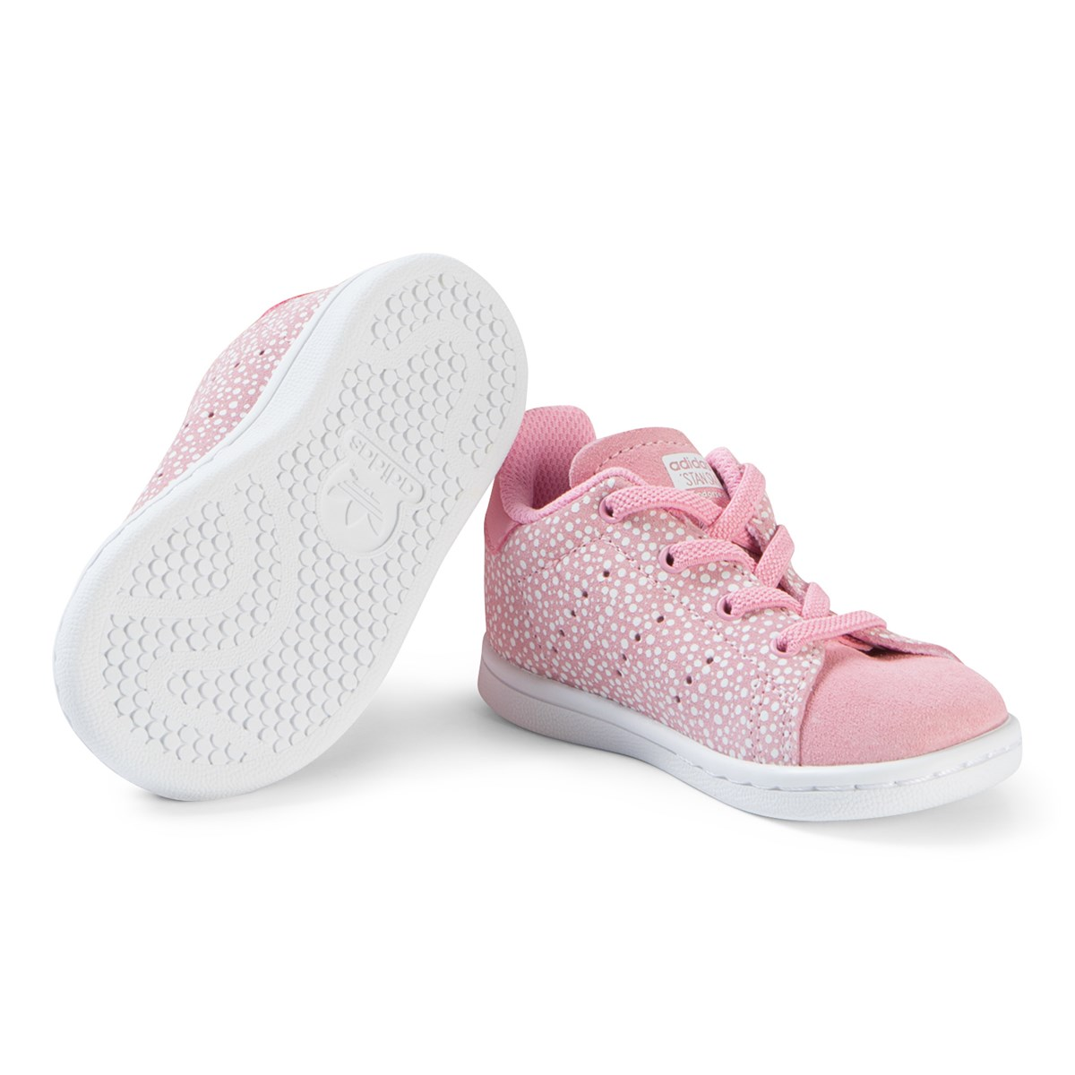 5bb55794b91c63 adidas Originals - Pink and White Stan Smith Sneakers - Babyshop.com