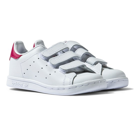 adidas Originals White and Pink Infants Stan Smith Trainers White