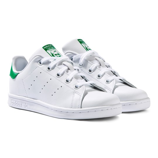 adidas Originals White and Green Stan Smith Trainers White