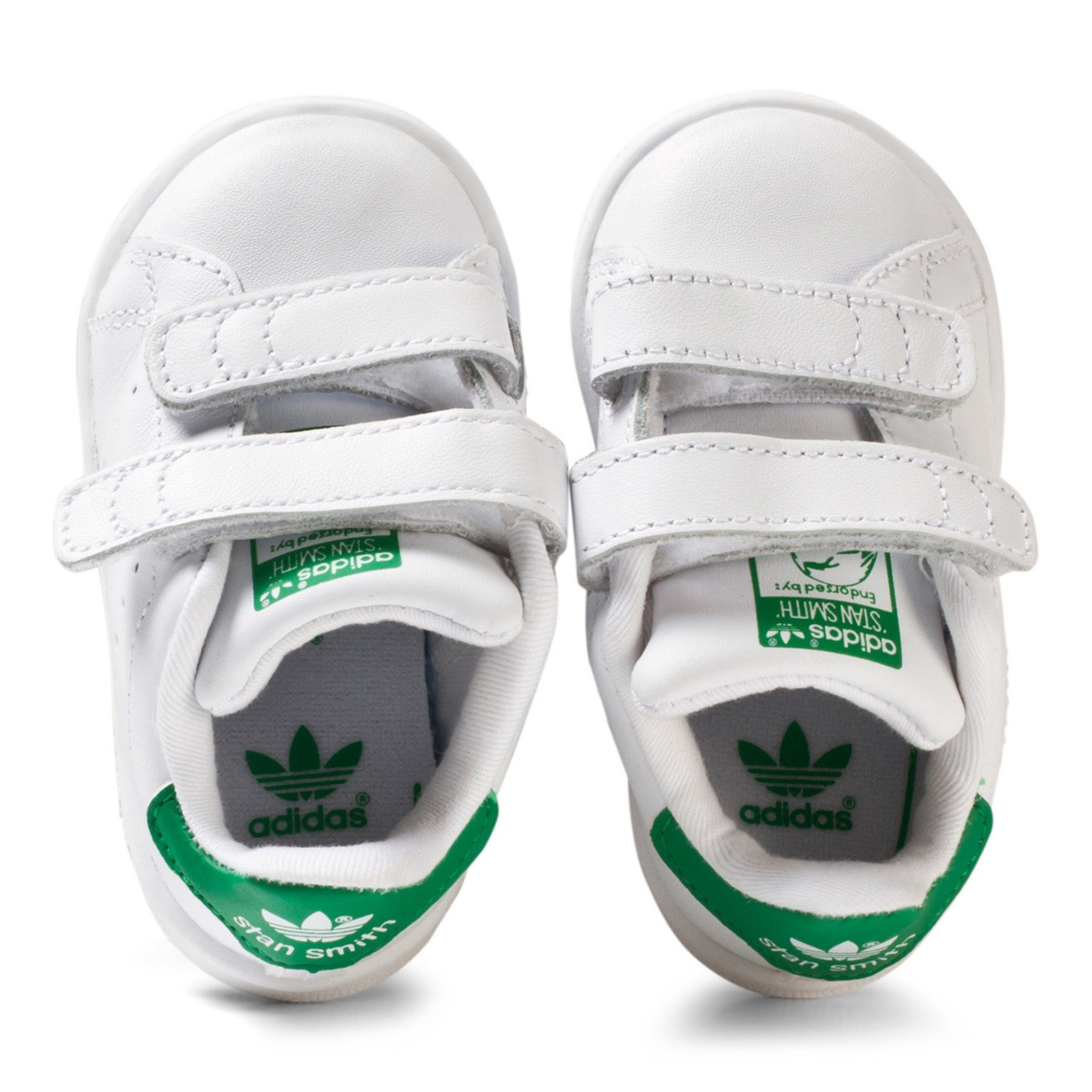 adidas Originals - White and Green Stan Smith Infants Velcro ...