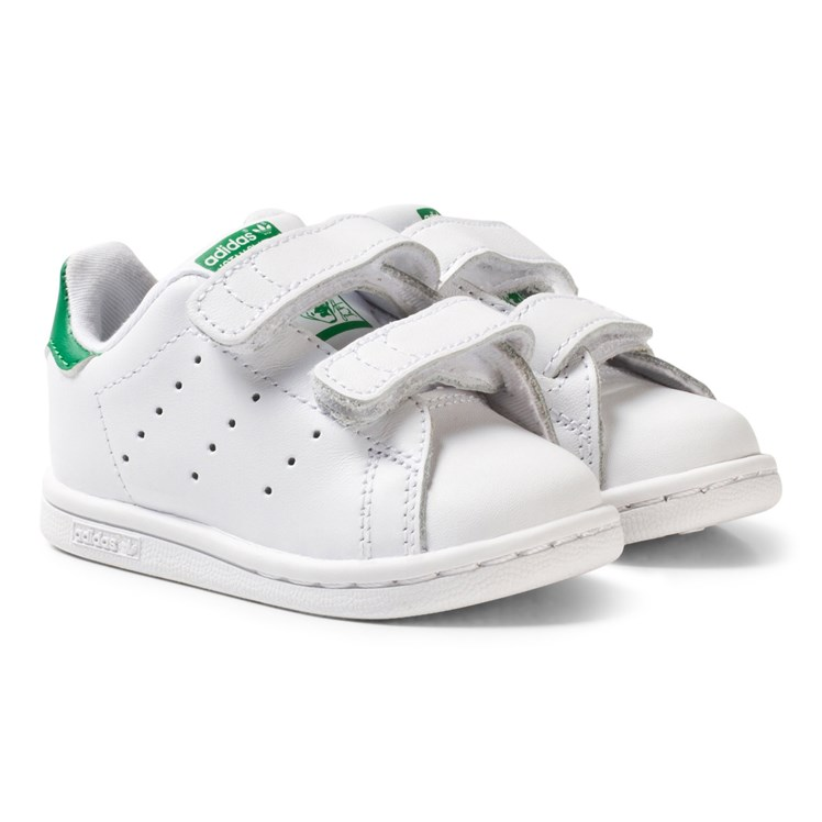 adidas Originals White and Green Stan Smith Infants Velcro
