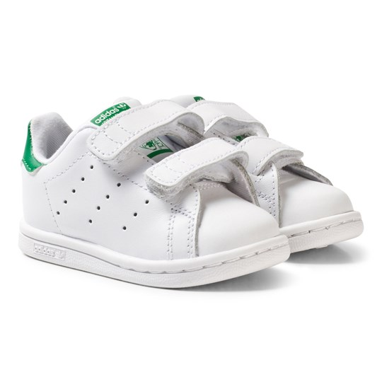 f65507b1bb1b5 adidas Originals White and Green Stan Smith Infants Velcro Sneakers FTWR  WHITE FTWR WHITE