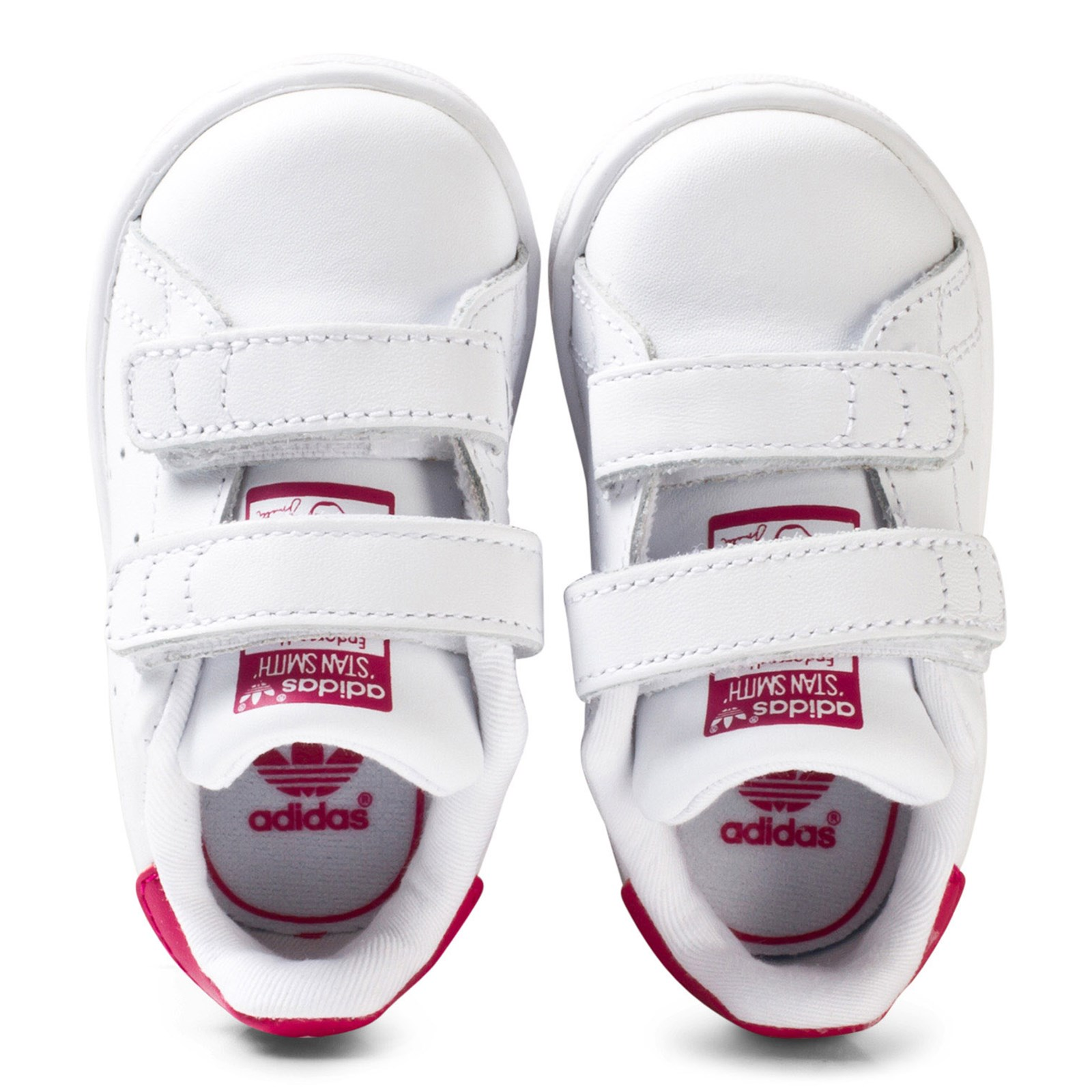 adidas Originals - White and Pink Stan Smith Infant Trainers ...