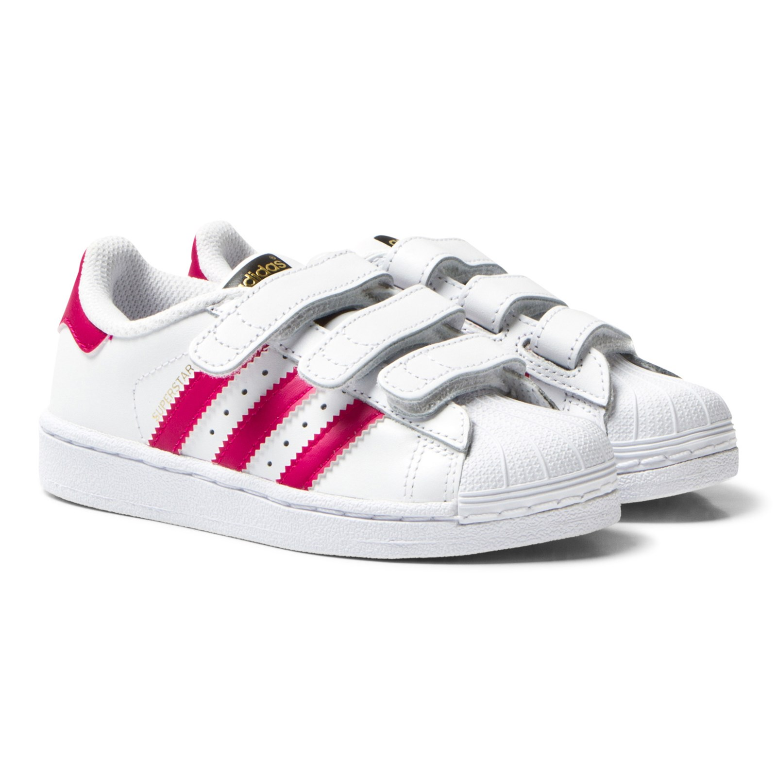 adidas Originals - White and Pink Superstar Velcro Trainers ...