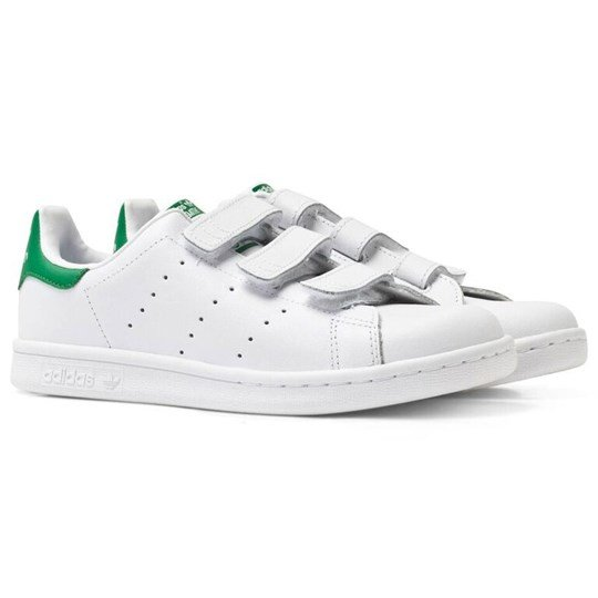 3bc65f01 adidas Originals White Stan Smith Velcro Trainers FTWR WHITE/FTWR  WHITE/GREEN