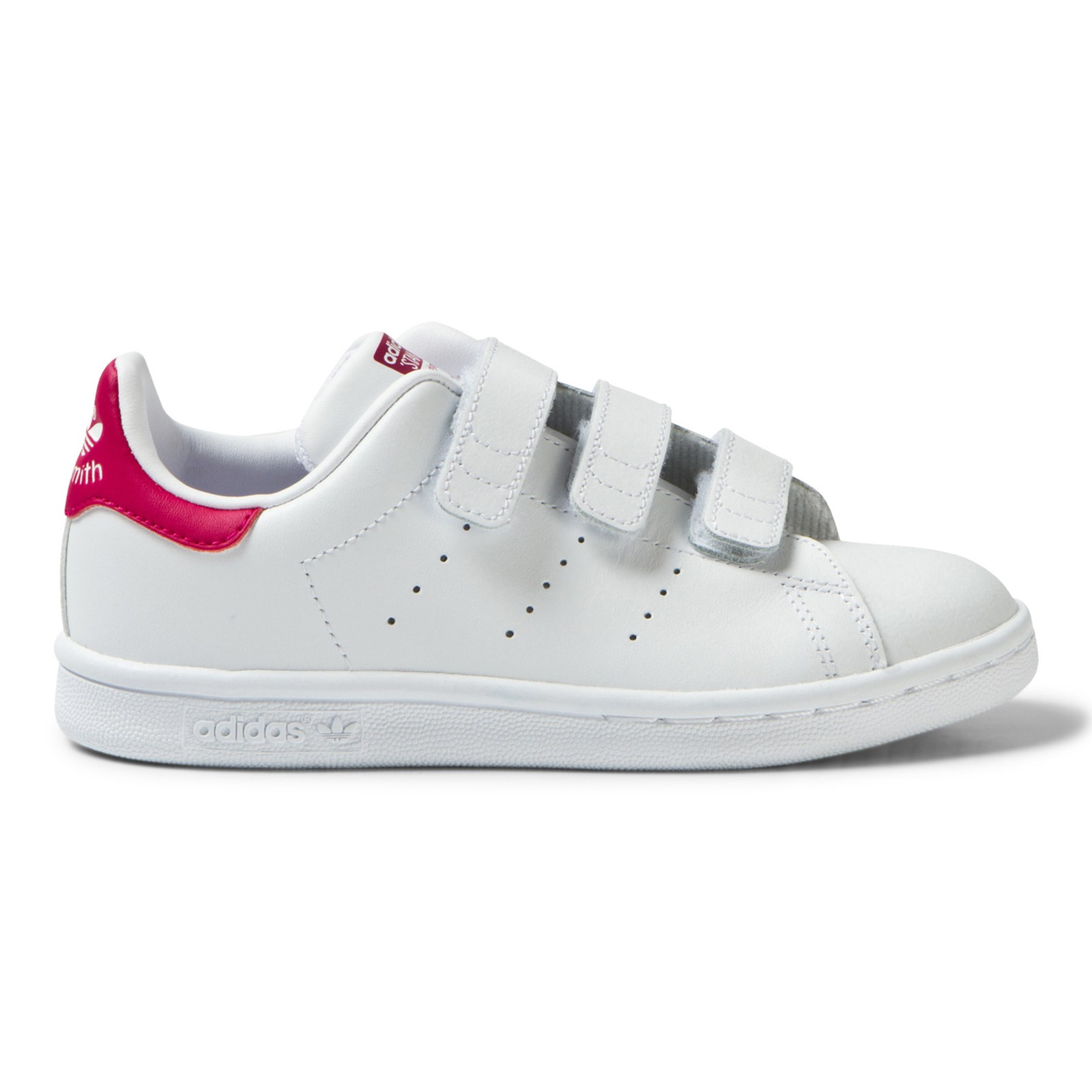 adidas Originals - White and Pink Kids 3V Stan Smith Trainers ...