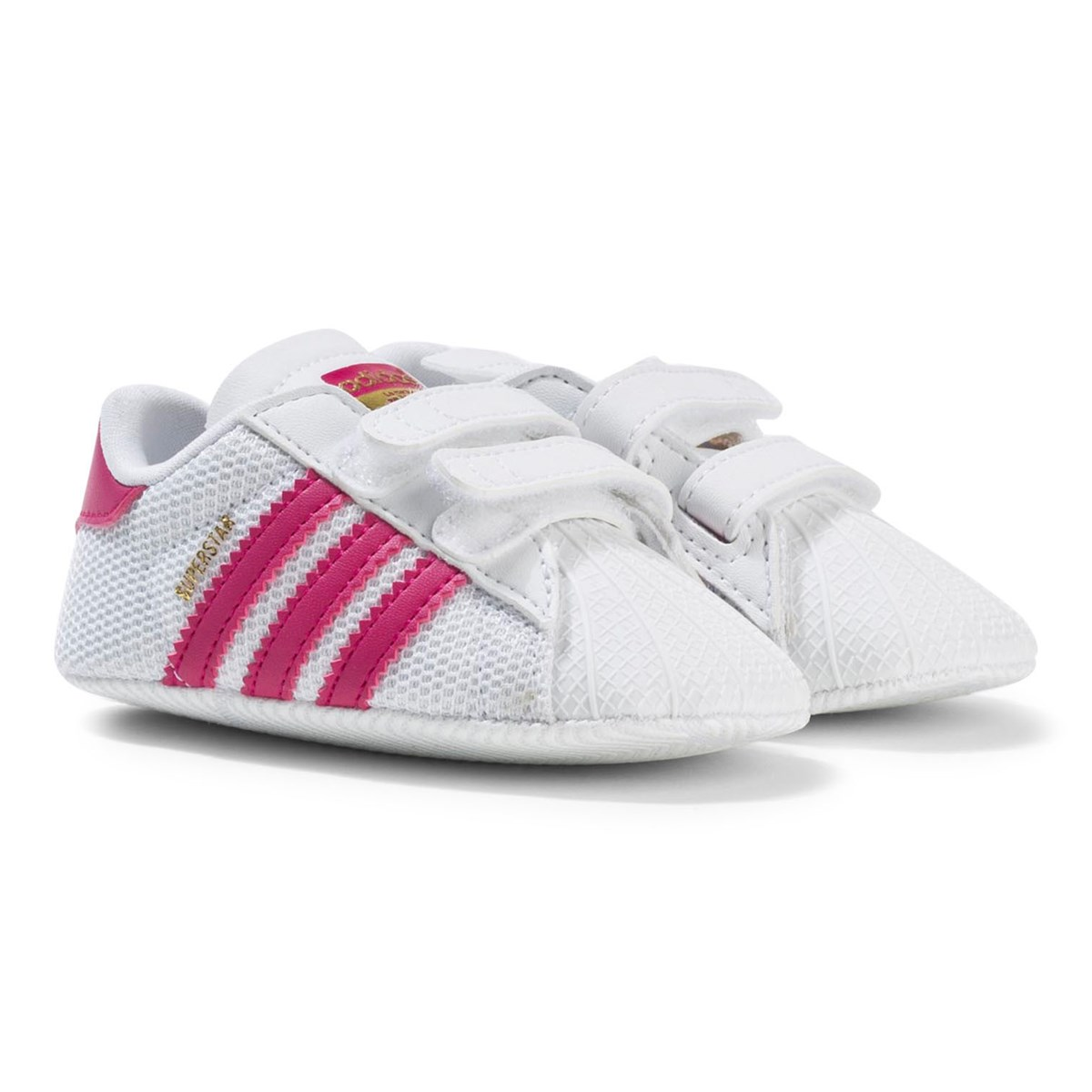 adidas Originals White and Pink Superstar Crib Trainers Babyshop.no