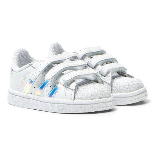 689434557c1 adidas Originals White and Iridescent Infants Superstar Trainers FTWR WHITE