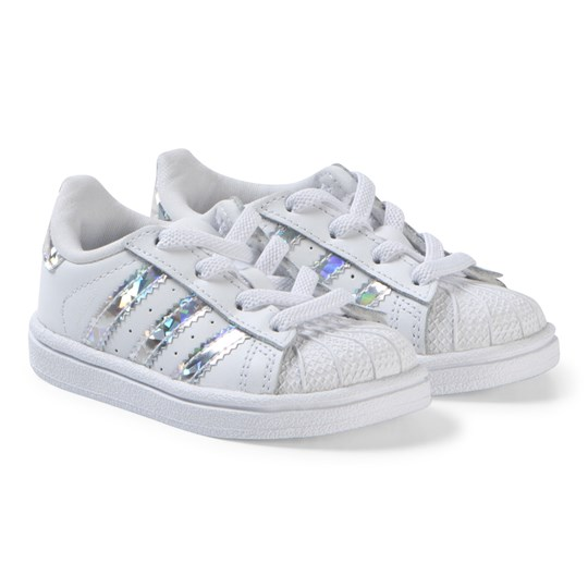 c42cd68db31d adidas Originals White and Silver Iridescent Infants Superstar Sneakers  FTWR WHITE FTWR WHITE FTWR