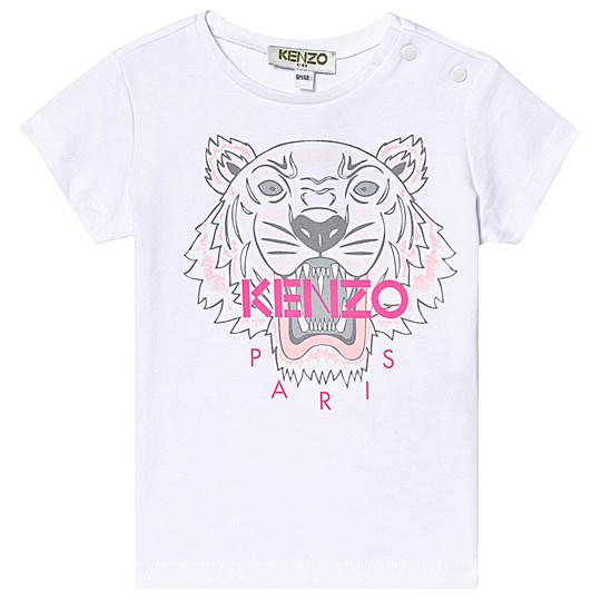 Kenzo White and Pink Tiger Print Baby Tee 01P