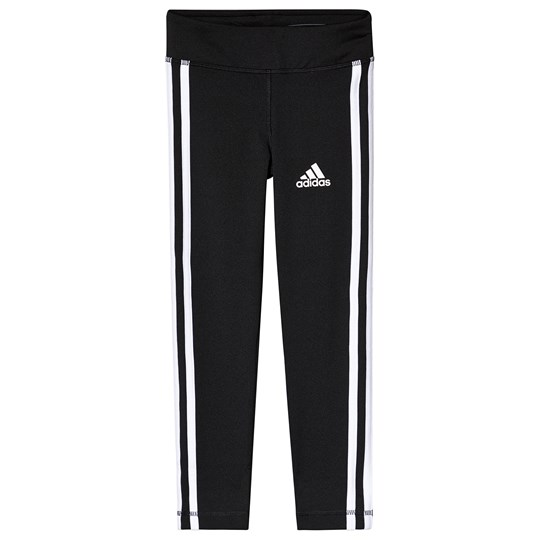 adidas Performance Black and White Stripes Leggings Black