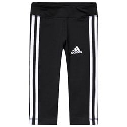 adidas Performance Black and White Stripes Capri Leggings