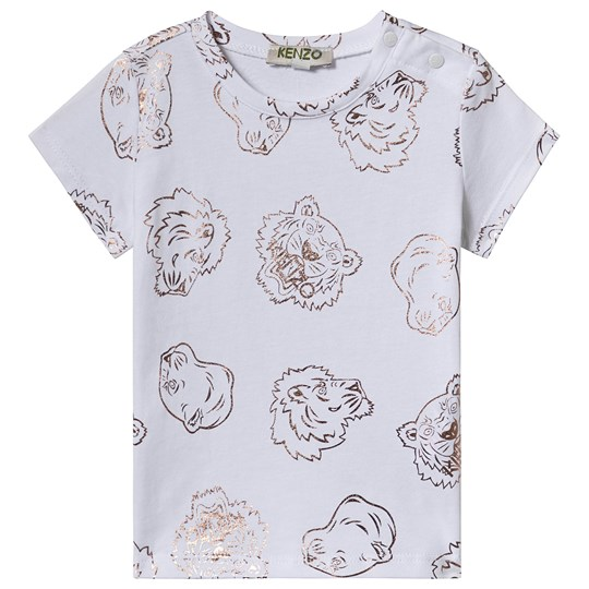 Kenzo White and Gold All Over Tiger Print Tee 01