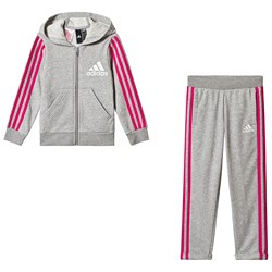 adidas Performance Grey and Pink Tracksuit