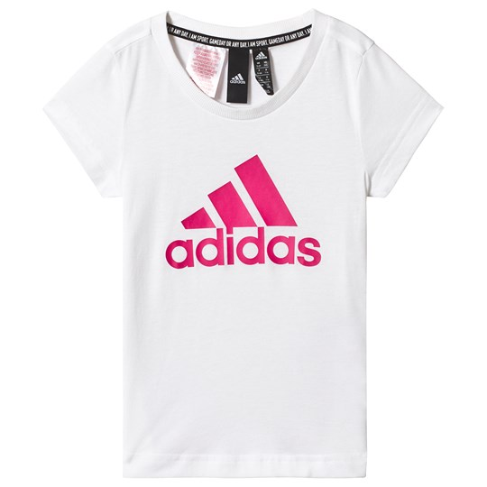 adidas Performance White and Pink Logo Tee white/semi solar pink