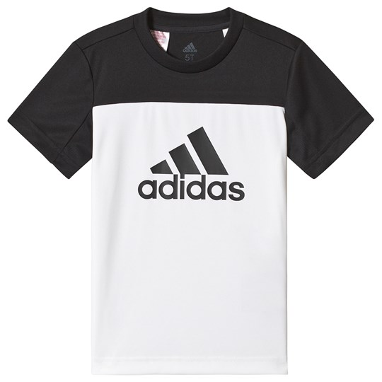 adidas Performance White and Black Block Logo Tee White/Black