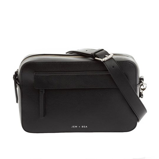 Jem + Bea Cara Crossbody Changing Bag Black Leather Black