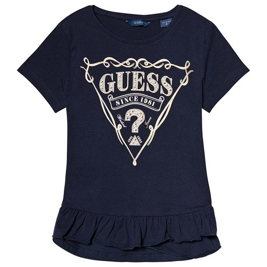 Guess Navy Stud and Diamante Logo Tee FABL