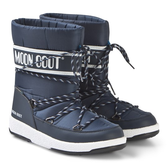 Moon Boot WP Quiltade Stövlar Marinblå NAVY BLUE-WHITE