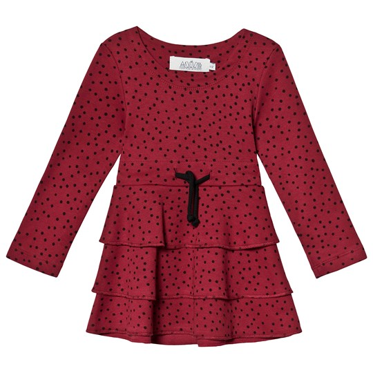 Anïve For The Minors Tiny Dots Frill Dress Burgundy with black print