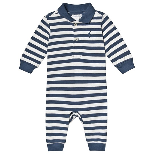 Ralph Lauren Blue and White Stripes Pique One-Piece 001