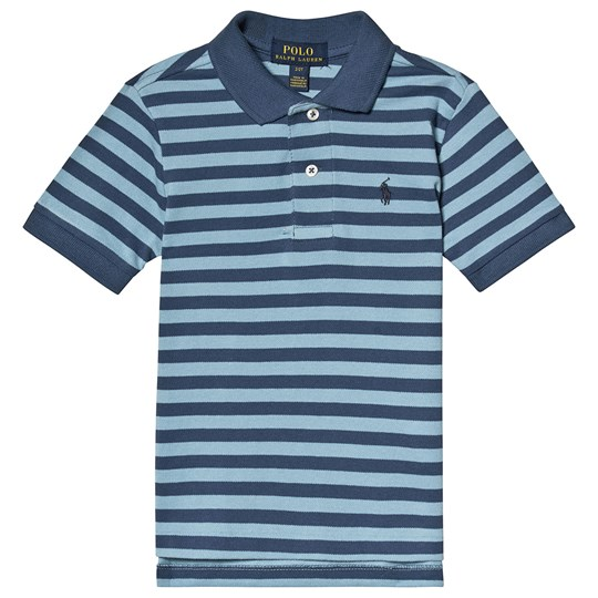 Ralph Lauren Blue Stripe Embroidered Logo Pique Polo 004