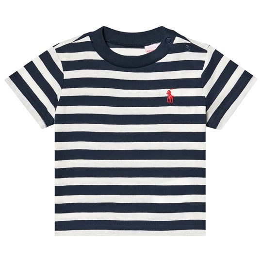 Ralph Lauren Navy and White Stripe Embroidered Logo Tee 001