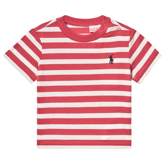 Ralph Lauren Red and White Stripe Embroidered Logo Tee 002