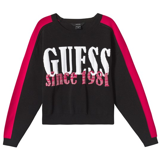 Guess Black Guess Logo Cropped Sweatshirt JBLK