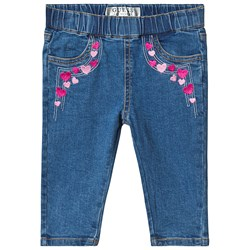 Guess Blue Light Wash Heart Embroidered Pull Up Jeans
