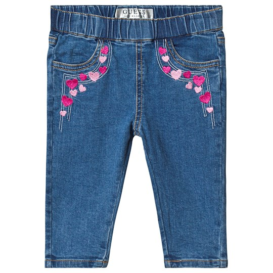 Guess Blue Light Wash Heart Embroidered Pull Up Jeans MSOL