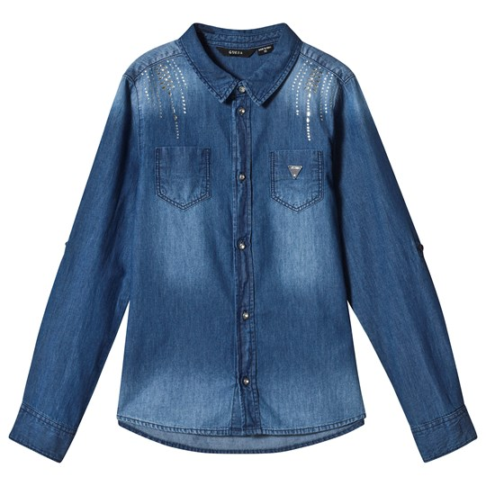 Guess Blue Light Wash Studded Denim Shirt JEWD