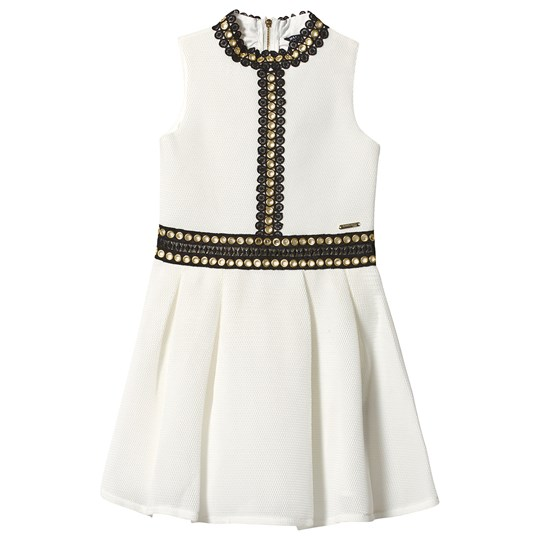 Guess Eyelet Scuba Skater Dress in White TWHT