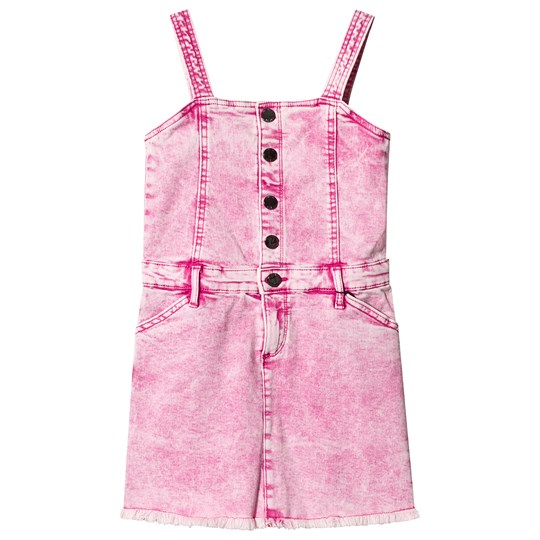 Guess Pink Acid Wash Denim Dungaree Dress G627