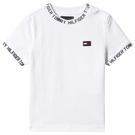 Tommy Hilfiger White Logo Trim Flag Tee 123