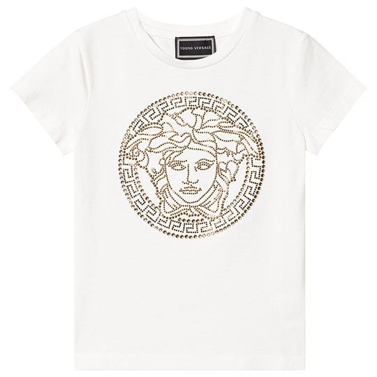 Versace White Diamante and Gold Stud Medusa Tee Y4915