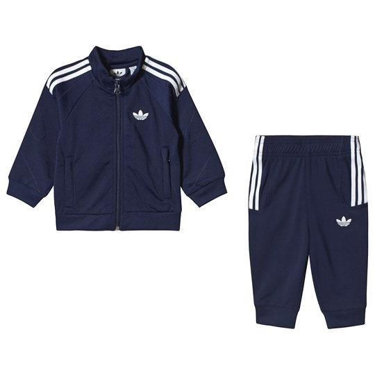 adidas Originals Branded Tracksuit Marinblå Top:dark blue/white Bottom:DARK BLUE/WHITE