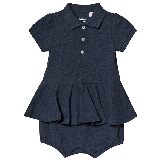 Ralph Lauren Blue Heather Pique Romper Dress 001