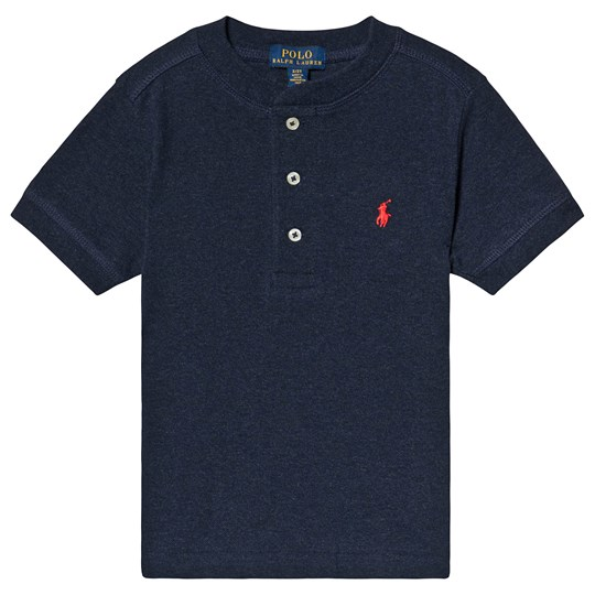 Ralph Lauren Navy Henley Pique Top with PP 004