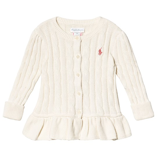 Ralph Lauren Cream Cable Peplum Knit Cardigan 010