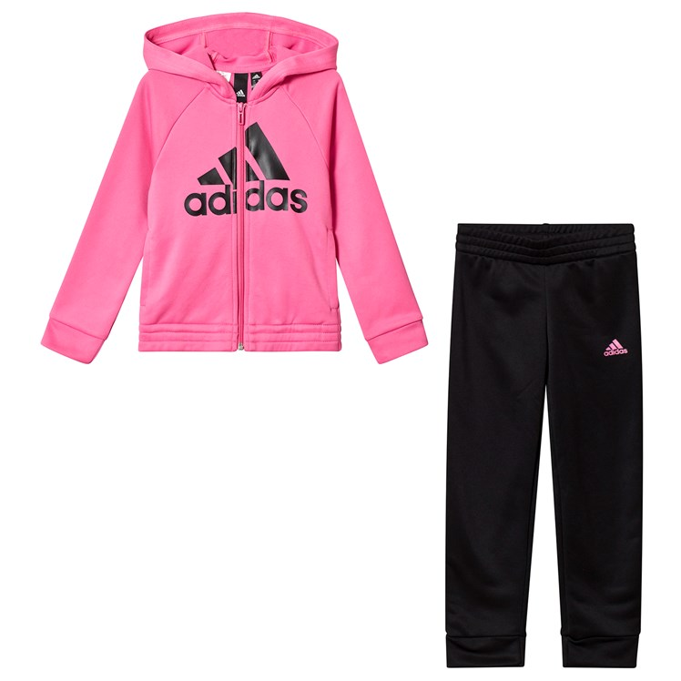 adidas Performance Pink and Black Logo Hoodie and Bottoms
