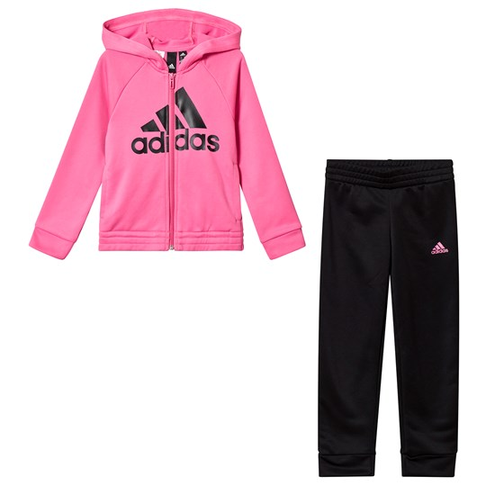 adidas Performance Pink and Black Logo Hoodie and Bottoms Set Top:semi solar pink/black Bottom:BLACK/WHITE