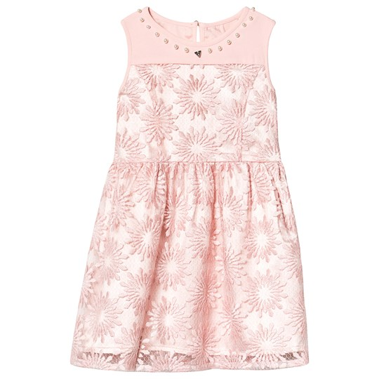 Guess Pink Flower Embroidered Dress G6L5