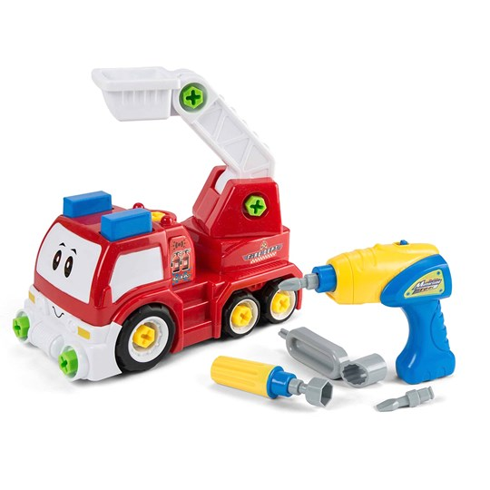Play Take Apart Vehicle, Fire Truck with electronic screwdriver Red