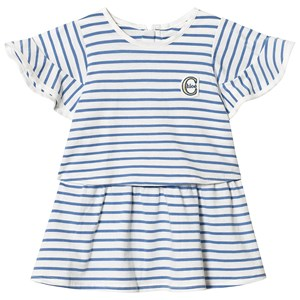 Image of Chloé Blue and White Stripe Ruffle Sleeve Logo Jersey Dress 18 months (3125260453)