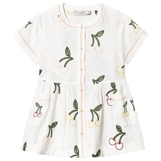 Stella McCartney Kids White Cherry Embroidered Dress 9232 - Cloud